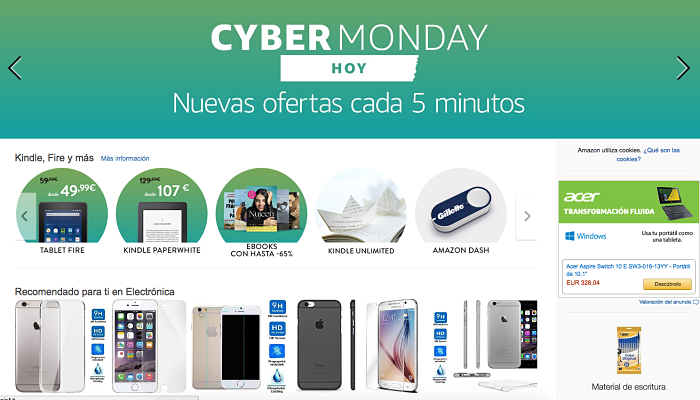 Cyber Monday ofertas de 5 minutos Amazon