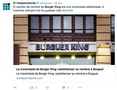 Inocentada Burguer King Twitter
