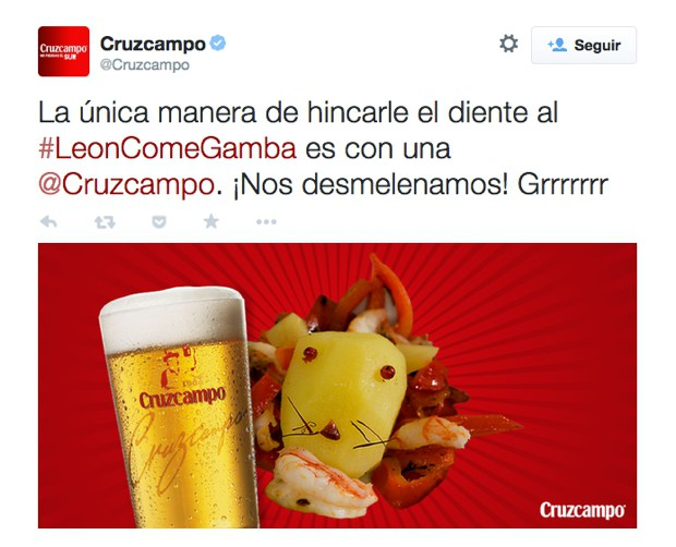 Real Time Marketing ejemplo leon come gambas tweet